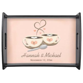 Mit Monogramm Wedding Kaffeetasse-Herzen Tabletts