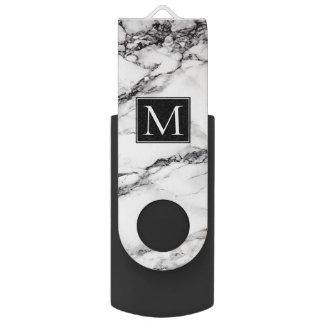 Mit Monogramm weißes und schwarzes Marmormuster USB Stick