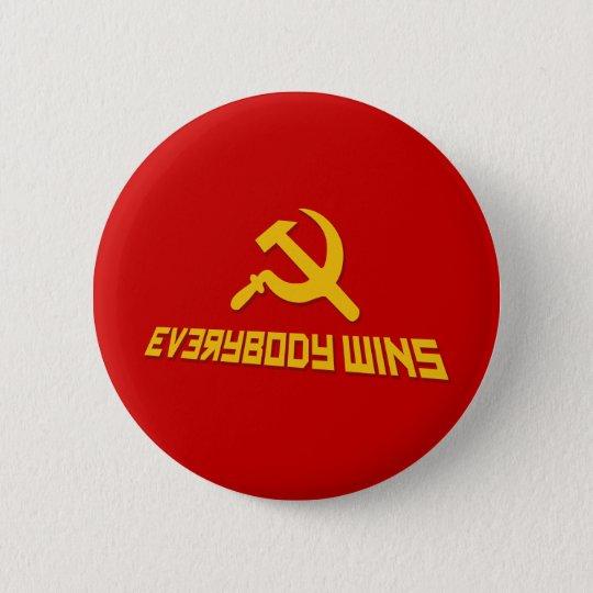 Mit Sozialismus gewinnt jeder! Regierungs-Satire Runder Button 5,7 Cm
