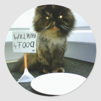 Mitleid-Miezekatze schnurrt für Nahrung Runde Sticker
