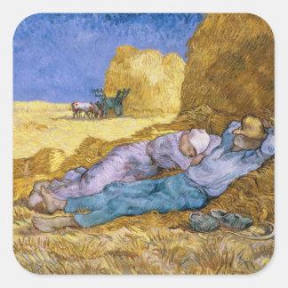 Mittag Vincent van Goghs |, der Siesta, nach Hirse Quadratischer Aufkleber