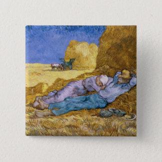 Mittag Vincent van Goghs |, der Siesta, nach Hirse Quadratischer Button 5,1 Cm