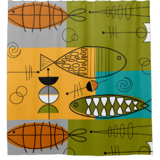 Mitte des Jahrhunderts modernes WhimsicalFish Duschvorhang
