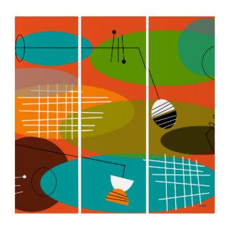 Mitte- des Jahrhundertsmoderne abstrakte Orange Triptychon