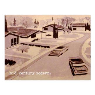 Mitte- des Jahrhundertsmoderne Architektur Postkarte