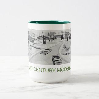 Mitte- des Jahrhundertsmoderne Architektur-Tasse Zweifarbige Tasse