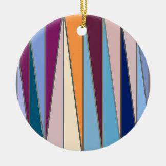 Mitte- des Jahrhundertsmoderne Dreiecke, Blau, Rundes Keramik Ornament