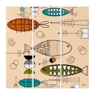 Mitte- des Jahrhundertsmoderne Fisch-Kunst Triptychon