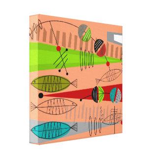 Mitte- des Jahrhundertsmoderne Fische abstrakt Leinwanddruck