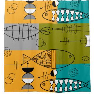 Mitte- des Jahrhundertsmoderne Fische Duschvorhang