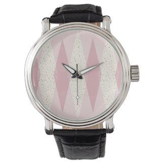 Mitte- des Jahrhundertsmoderne rosa Raute eWatch Uhr