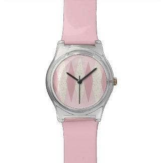 Mitte- des Jahrhundertsmoderne rosa Rauten-am 28. Armbanduhr