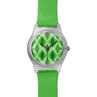 Mitte- des Jahrhundertsmodernes Diamant-, Smaragd- Armbanduhr