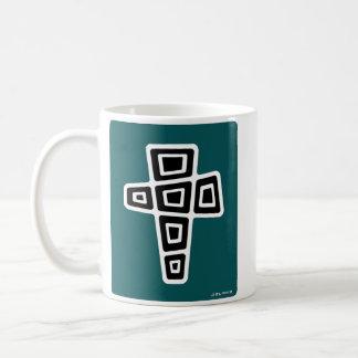 Mitte- des Jahrhundertsmodernes Kreuz (aquamarin) Kaffeetasse
