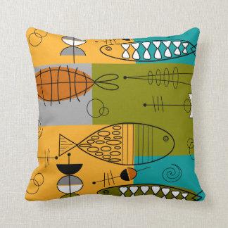 Mitte- des Jahrhundertswunderliche Fisch-Kunst II Kissen