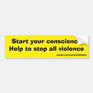 Mitteilung gegen alle Gewalt Autoaufkleber