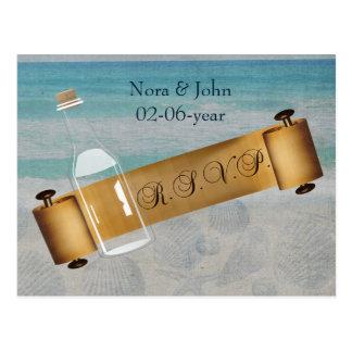 Mitteilung in einer Flasche, Strandhochzeits-uAwg Postkarten