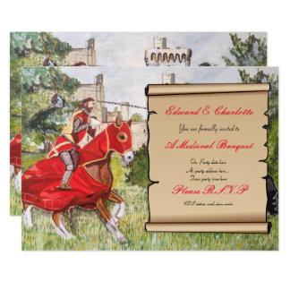 Mittelalterliche Bankett-Einladungs-turnierende Karte