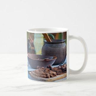 Mittelalterliche kochende Fotografie Kaffeetasse