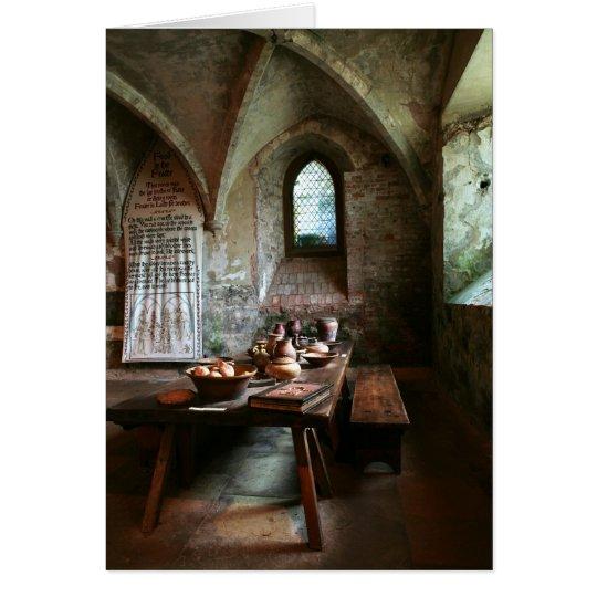 Mittelalterliche leere Karte des Speisetisches