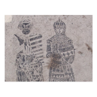 Mittelalterliche Ritter-Graffiti Postkarte