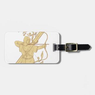 Mittelalterlicher Bogenschütze, der Bogen-und Gepäckanhänger