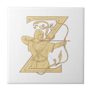 Mittelalterlicher Bogenschütze, der Bogen-und Keramikfliese