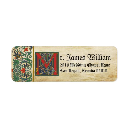 Mittelalterlicher Manuskript-Hochzeits-Aufkleber Rücksende Aufkleber