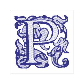 Mittelalterliches Monogramm-lila Buchstabe P Permastempel