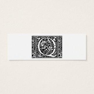 Mittelalterliches Monogramm-Vintage Initiale des Mini Visitenkarte