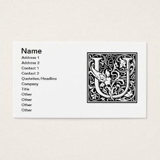 Mittelalterliches Monogramm-Vintage Initiale des Visitenkarte