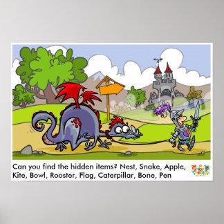 Mittelalterliches Wort-Entdeckungs-Plakat Poster