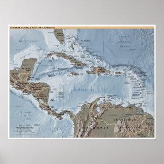 Mittelamerika und die karibische Karte Poster