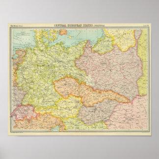 Mitteleuropäische Staaten politisch Posterdrucke