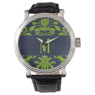 MittelMonogoram im Grün mit Marine-Blau-Damast Armbanduhr