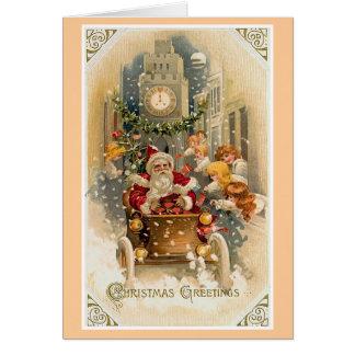 Mitternachts-Antriebs-Vintage Weihnachtskarte Karte