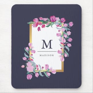 Mitternachtsblau, Gold und rosa Bouganvilla-Blumen Mousepads