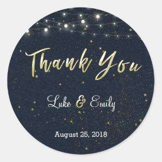 MitternachtsGlamour-Hochzeit danken Ihnen Runder Aufkleber