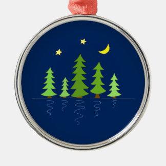 Mitternachtswald mit Baum-Sternen und Mond Silbernes Ornament