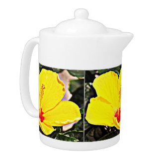 Mittlerer Tee-Topf - gelbe Hibiskus-Blume