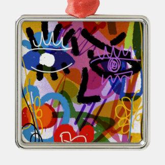 Mod-abstraktes Gesichts-Digital-Zeichnen Quadratisches Silberfarbenes Ornament