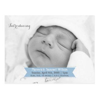 Mod-Band-blaue neue Baby-Foto Mitteilung Postkarte