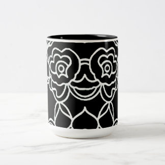 """Mod betont"" Black_White_Lace Zweifarbige Tasse"