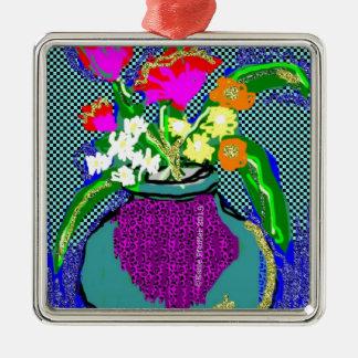 Mod-Blumen-Blumenstrauß wenn Blau des Gefühls Im Quadratisches Silberfarbenes Ornament