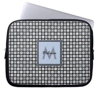 Mod-Karo-Muster-blaue und schwarze Quadrate Laptopschutzhülle