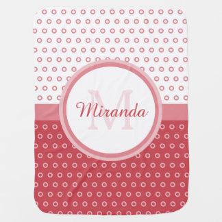 Mod-rosa und weißes Polka-Punkt-Monogramm mit Puckdecke