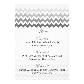 Mod Zickzack graue Ombre Hochzeits-Menükarten Ankündigung