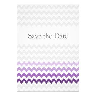 Mod Zickzack lila Ombre, das Save the Date wedding Individuelle Ankündigskarten