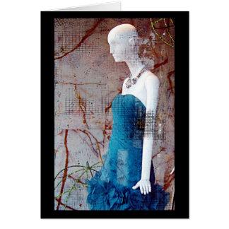 Mode-blaues Kleid Karte