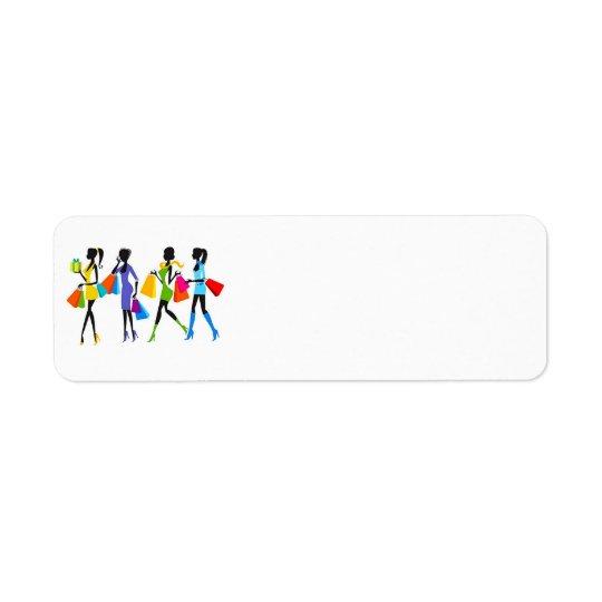 Mode-Einkaufsmädchen-Illustration Rücksendeetikett